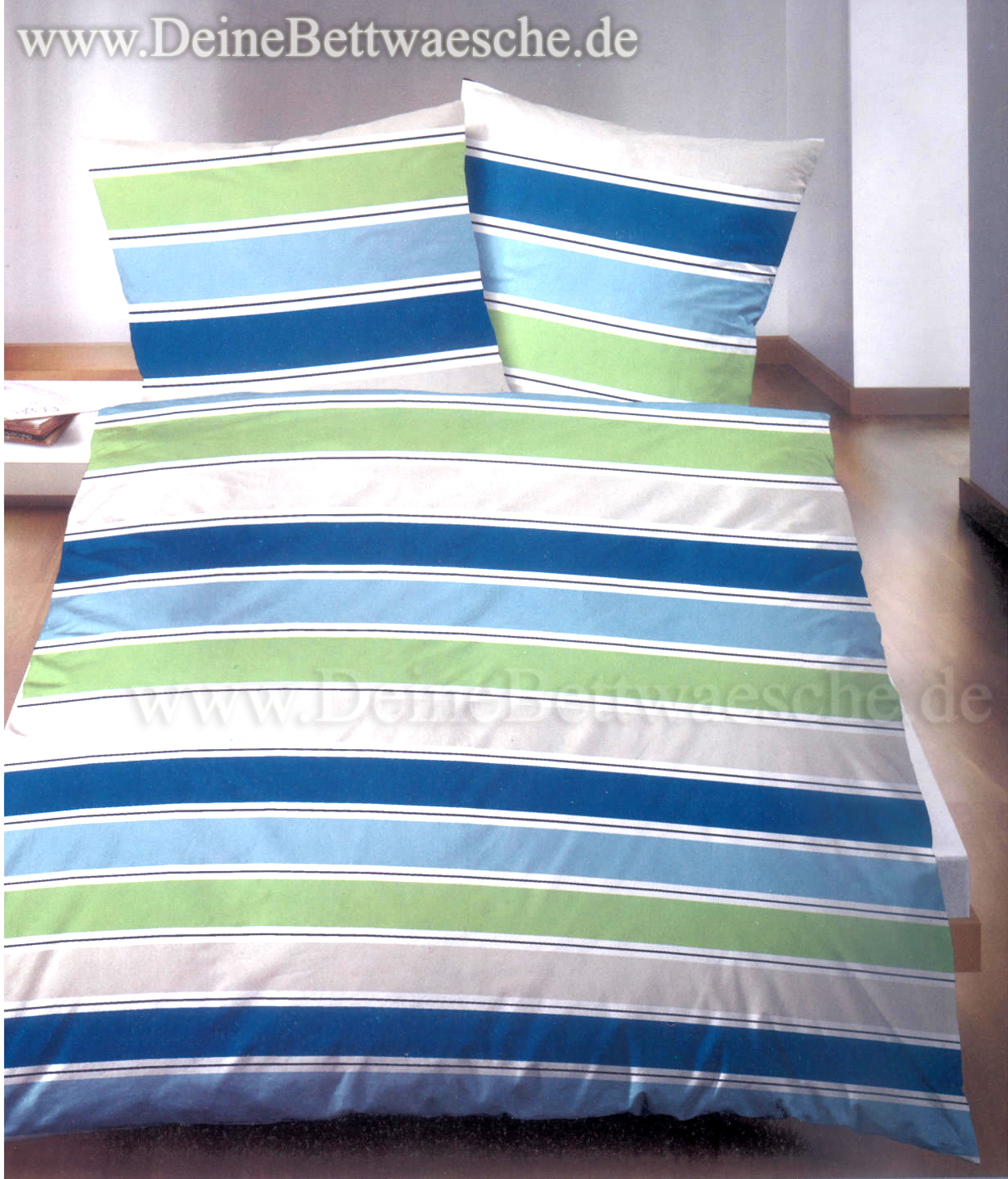 bettw sche castell stripes blau gr n online g nstig kaufen. Black Bedroom Furniture Sets. Home Design Ideas