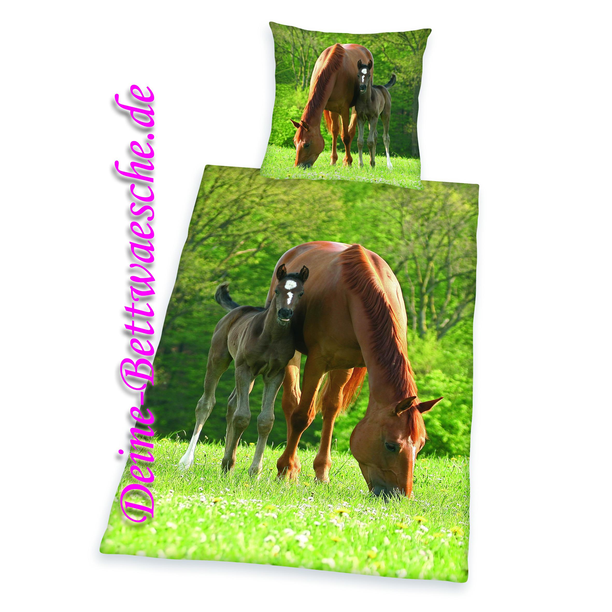pferde bettw sche fohlen aus 100 baumwolle onlineshop f r bettw sche spielwaren und heimtextilien. Black Bedroom Furniture Sets. Home Design Ideas